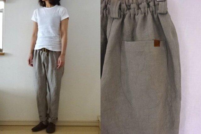 【受注制作】ベージュグレー 綾織りリネン ゆるりパンツの画像1枚目