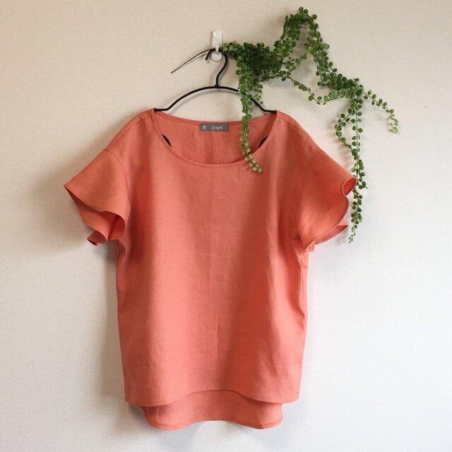 リネン/オレンジムース/フレアー袖ブラウスの画像1枚目