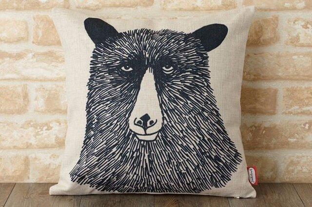 クッションカバー 45×45cm Jimbobart デザイン クマ JIMBOCUSHION001 天然リネンの画像1枚目