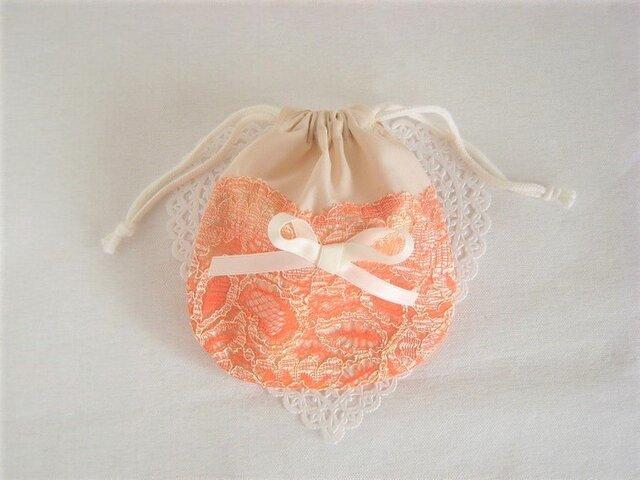 かわいいリボンを付けたオレンジレースのエレガント巾着の画像1枚目