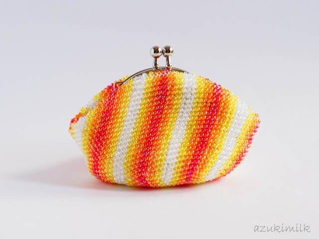 ビーズ編みがま口【オレンジストライプ】の画像1枚目
