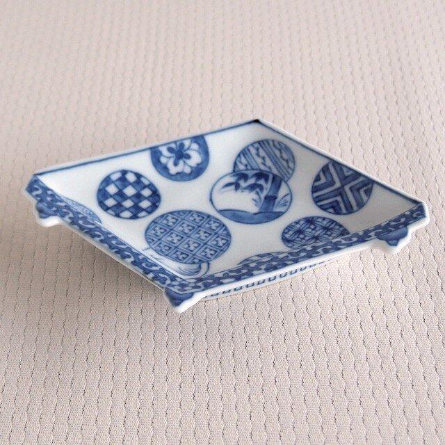 染付丸紋 盤型手塩皿の画像1枚目