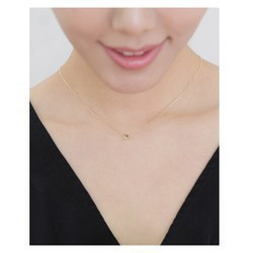 【K14/14金/受注製作】シンプルハートイエローゴールド42〜45cmネックレスの画像1枚目