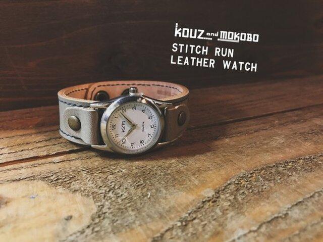 ▲STITCH 寒空、冬のスモーキー⌚「ステッチラン 腕時計」メンズライク(SRW-HWH-NA)の画像1枚目