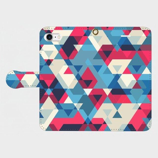 さんかくパターン ③ (赤×青×白) iphone 5/5s/6/6s/SE/7 専用 手帳型スマホケースの画像1枚目