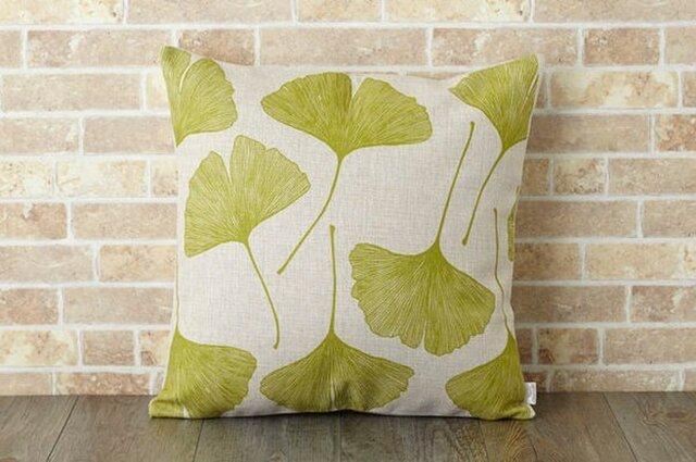 クッションカバー 45×45cm いちょう 植物 天然リネン ギンゴリピート jubileecushionse052aの画像1枚目