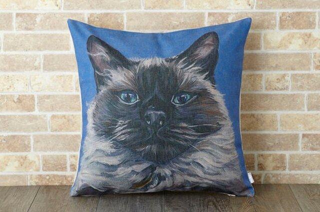 ペットクッションカバー 45×45cm 猫 ネコ バーマンキャット jubileecushionca002の画像1枚目