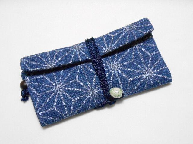 道中財布 デニム紺 銀 麻の葉 三つ折り財布の画像1枚目