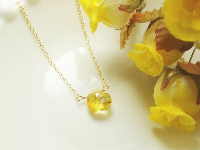 *N06*宝石質シトリンAAAAA☆ライン入りハートプチネックレスの画像1枚目
