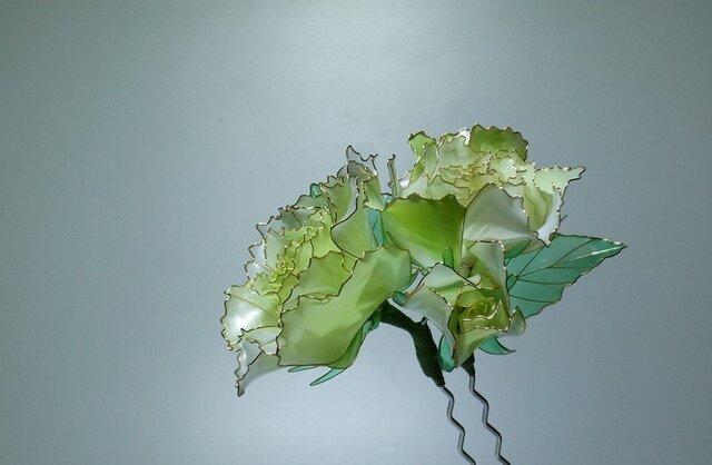 薔薇の簪(二本ざし:グリーン)の画像1枚目