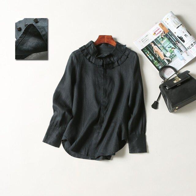 (再販4)春夏の着こなしに大活躍のリネン100%シャツ ブラックの画像1枚目