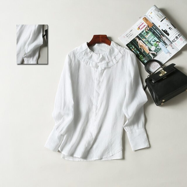 (再販)春夏の着こなしに大活躍のリネン100%シャツ ホワイトの画像1枚目