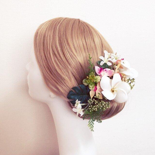 リゾートウェディングに♡プルメリアとトロピカルフラワーのヘッドドレスの画像1枚目