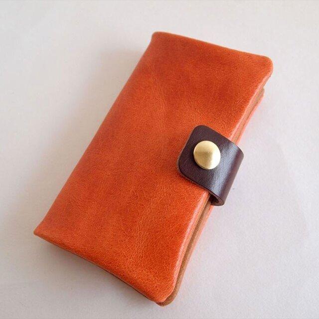 オレンジ*スマホ手帳型【オーダーメイド】多機種対応*ニブリックレザー*7色(iphone7,xperia,galaxy)の画像1枚目