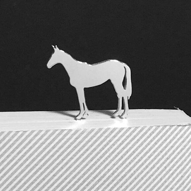 Horse-BookMark-2-d 馬 サラブレッド シルバーブックマーク しおりの画像1枚目