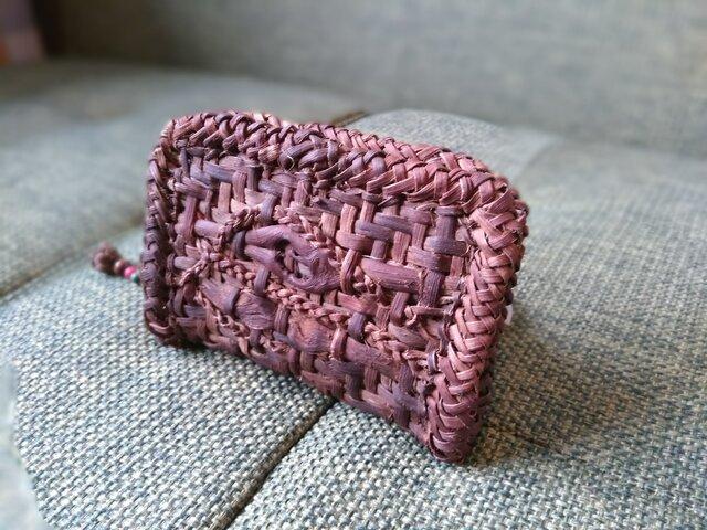 山葡萄の蔓で編んだ『カードケース+ストラップ付』①の画像1枚目