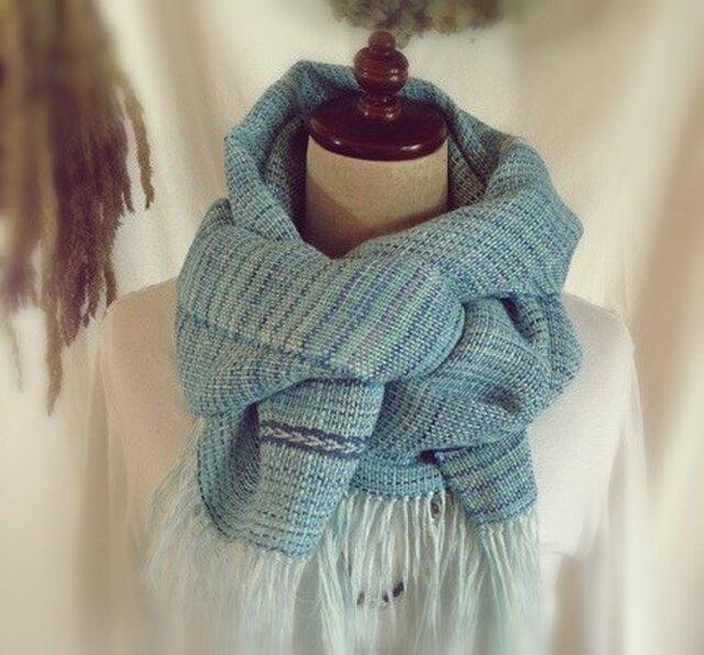 手織り・手染め リトアニアリネンのストールブルーの画像1枚目