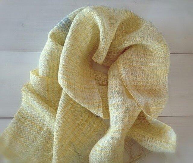 手織り・手染め リトアニアリネンのストールイエローの画像1枚目