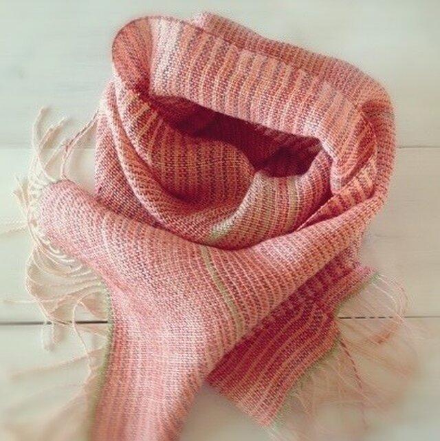 SALE 手織り・手染め リトアニアリネンのストールオレンジの画像1枚目