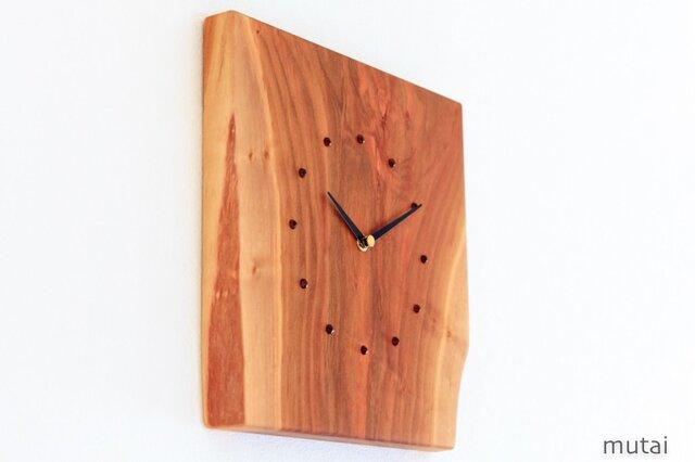 サクラの耳付き板の時計 3の画像1枚目
