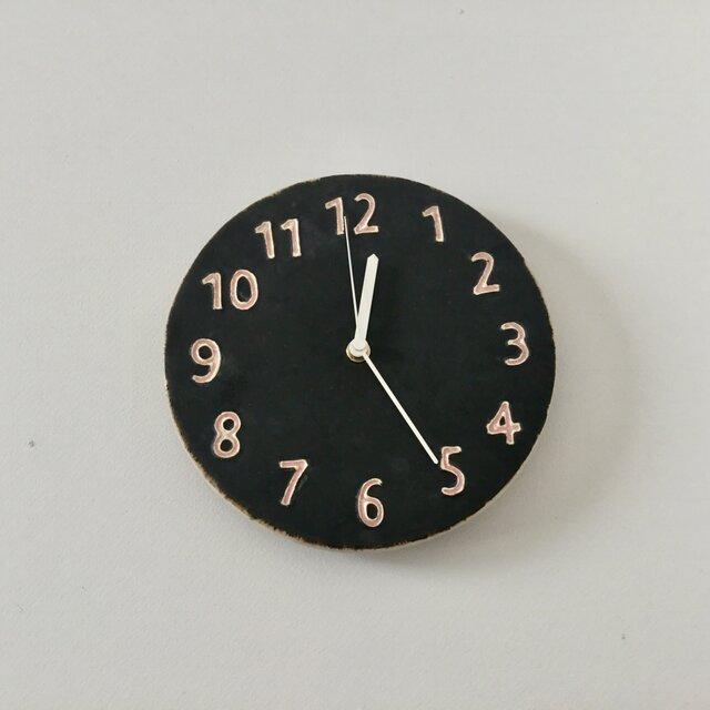 陶シンプル 掛け時計 黒の画像1枚目