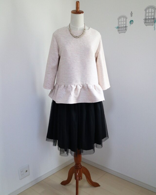 【Set】ベビーピンク★ツイードペプラムプルオーバー&チュールスカートの画像1枚目