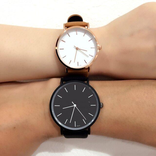 2size ブラックペアウォッチ 上品シンプル腕時計 <j-0034>の画像1枚目