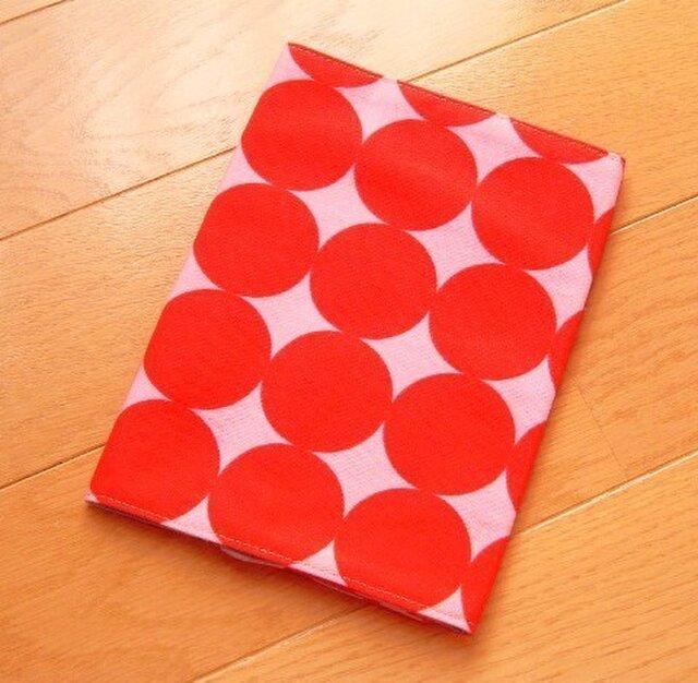 大きなドット 赤×ピンク 文庫本ブックカバーの画像1枚目
