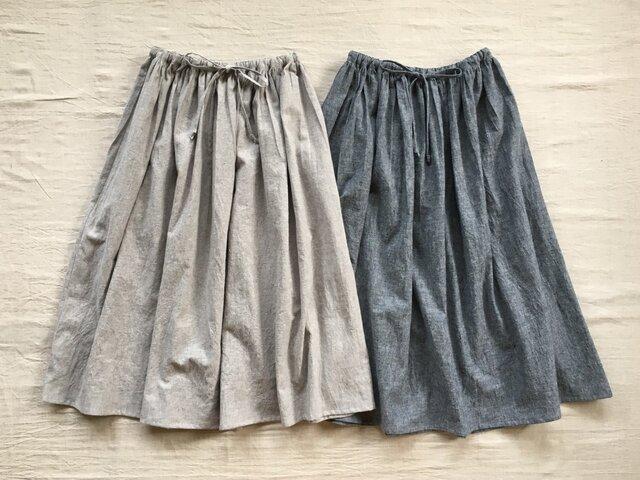 綿麻キャンバスギャザースカート【オーダー可能】の画像1枚目