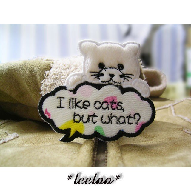 ★猫好きですけど、何か?★吹き出しワッペン★の画像1枚目