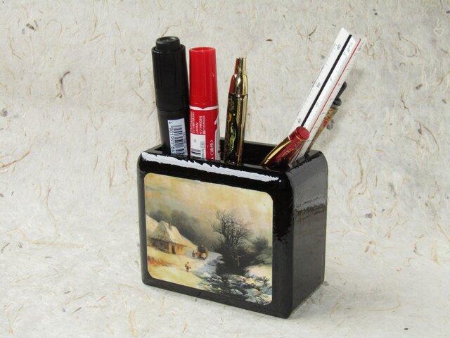 ✨くるみ工房✨漆塗りペン立て小物入れ 絵画アイヴァゾフスキーの画像1枚目
