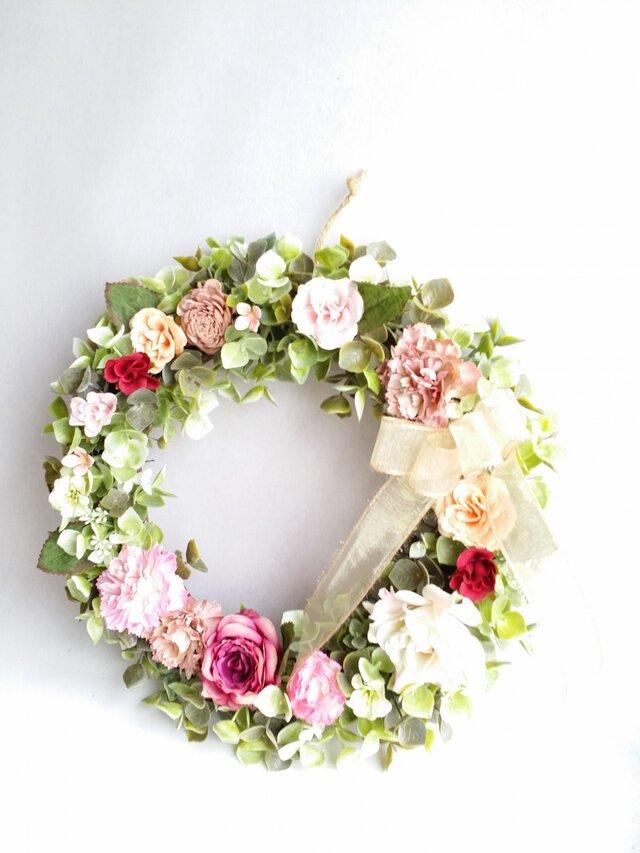 ~flowerリース*ナチュラルリース*受注制作~ ローズpink☆の画像1枚目