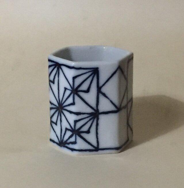 Z044 磁器染付酒杯(筒杯、ショットカップ)の画像1枚目
