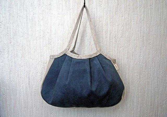 リネンコットンのグラニーバッグ ログウッドと藍の紺染めの画像1枚目