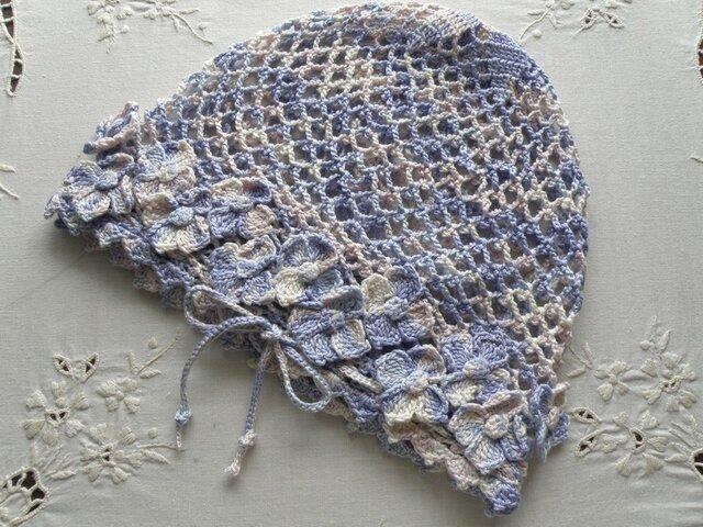コットンかぎ針編み帽子 薄紫ミックスの画像1枚目
