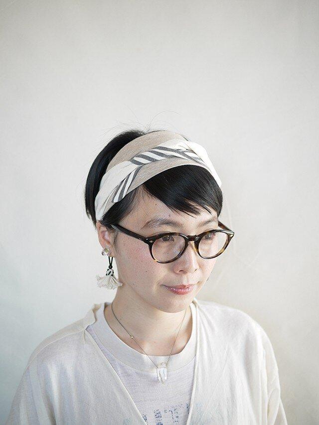 patchwork turban (cotton×linen mix 17ss-i)の画像1枚目