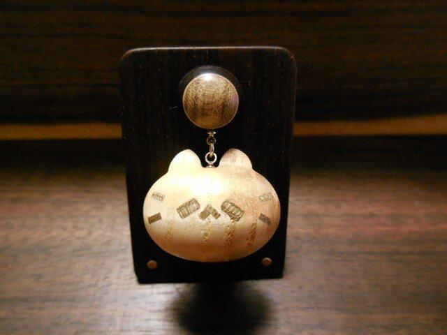 タモ源平材縮み杢のネコノカミ勲章の画像1枚目