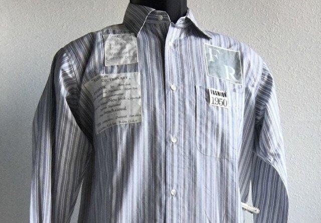 素敵な縞模様に文字布を付けたメンズシャツ送料無料の画像1枚目