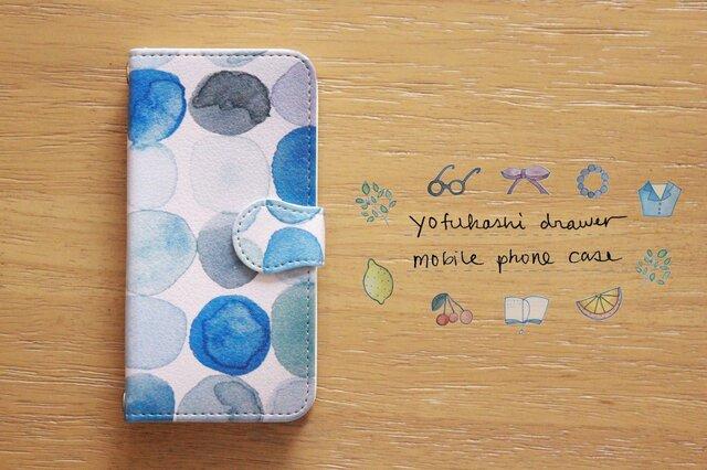 : : : 水玉(水色): : : 手帳型スマートフォンケースの画像1枚目
