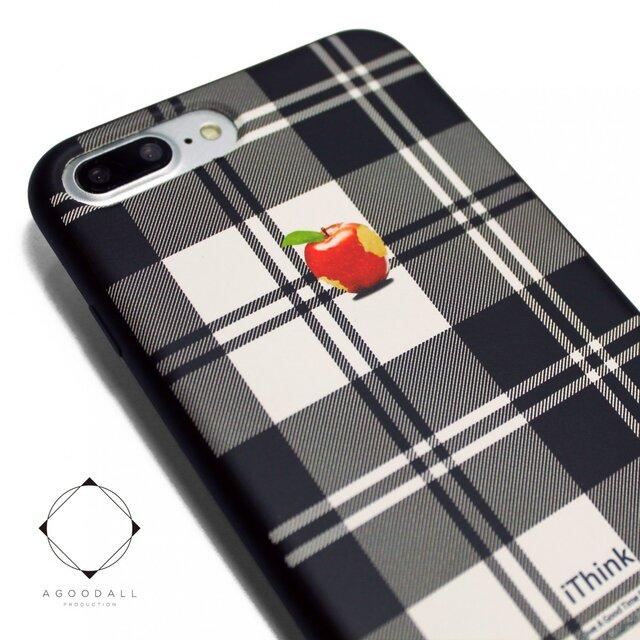 2ff919808c iphone7plusケース(5.5インチ用)軽量レザーケースiphone8plusカバー アップル 赤リンゴ タータンチェック