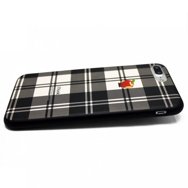 23be19a856 iphone7plusケース(5.5インチ用)軽量レザーケースiphone8plusカバー アップル 赤リンゴ タータン