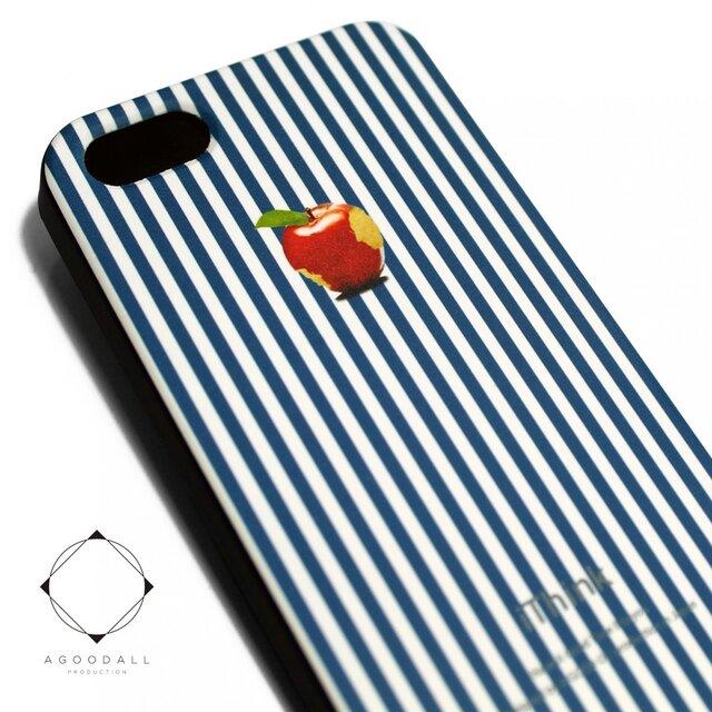 iphone5/iphone5s用/iphoneSE 軽量レザーケース(ブルーストライプ×ブラック)ロンドンストライプ 赤リンゴの画像1枚目