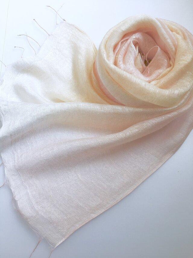 二重紗シルク*薄桜色×淡黄色*ストールの画像1枚目