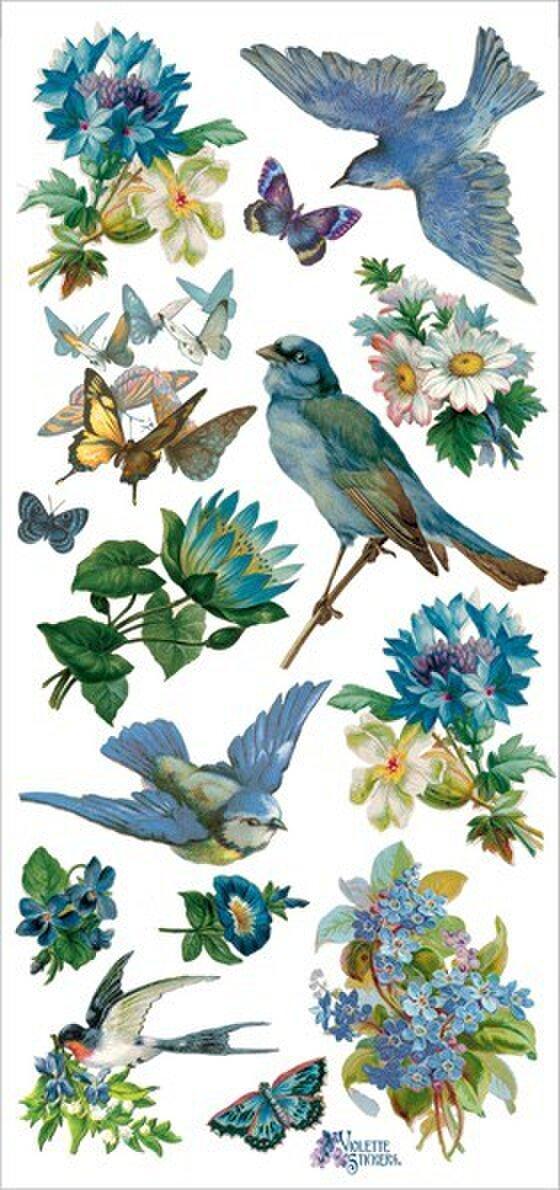 USAヴィクトリアンシール 青い鳥と花   DA-VS010の画像1枚目