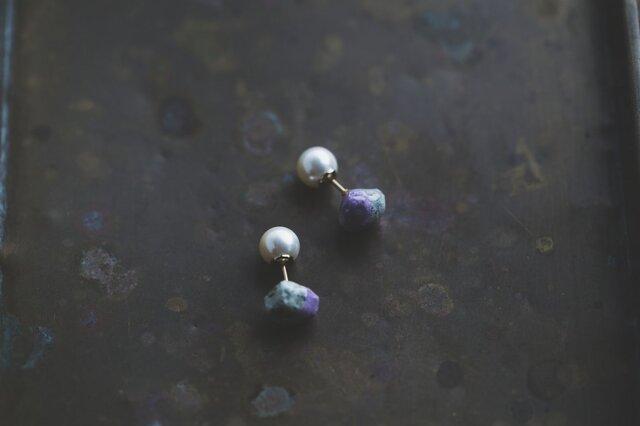 Oya stone color ピアス(パープル)の画像1枚目