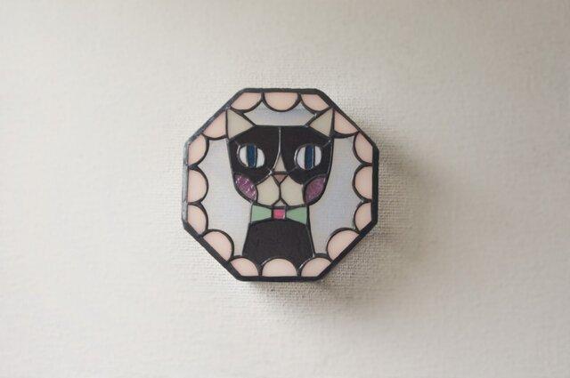 ネコ 壁掛けランプ フリル薄いピンクの画像1枚目
