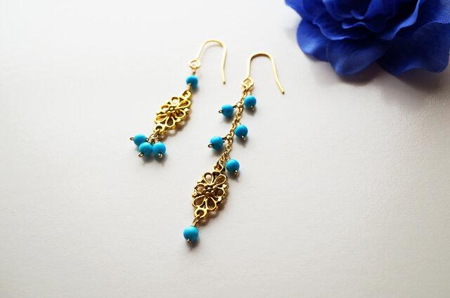 プチオリエンタル ターコイズピアス Petit Oriental Turquoise earrings P0024の画像1枚目
