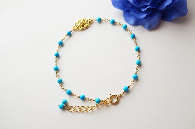 プチオリエンタル ターコイズブレスレット Petit Oriental Turquoise bracelet B0014の画像1枚目