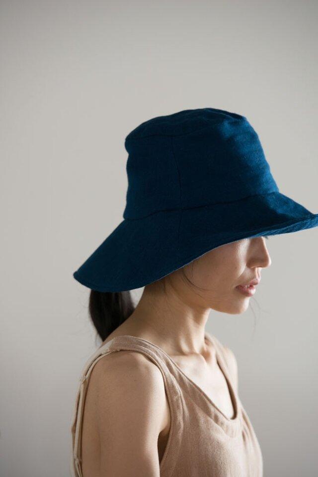 日よけ帽(藍染ガーゼ)の画像1枚目