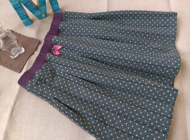 【size90】タックギャザースカート*ブルーグレー/水玉/ドット/ストライプの画像1枚目